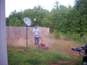 Chris mowing for the first time.