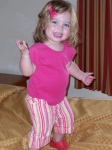 Dancin' on the BIG hotel bed. . . no, Chloe, you can't sleep with us.  Sorry. :)
