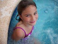 Cherith enjoys the hot tub.