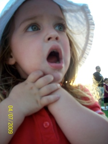 This is Chloe with her hand over her 'heart' during the National Anthem.