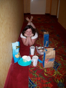 We spent our first dinner (and our second, now that I think about it!) eating in the hallway of our hotel while the girls were sleeping in the room we paid all that money for!! :)
