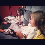 "The girls read bedtime stories to the baby lots of nights. Tonight was ""The Very Busy Spider"" and ""Amelia Bedelia and the Baby""."
